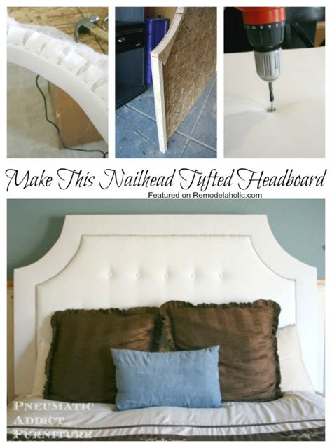 how to make tufted headboard build a tufted headboard with nail trim remodelaholic