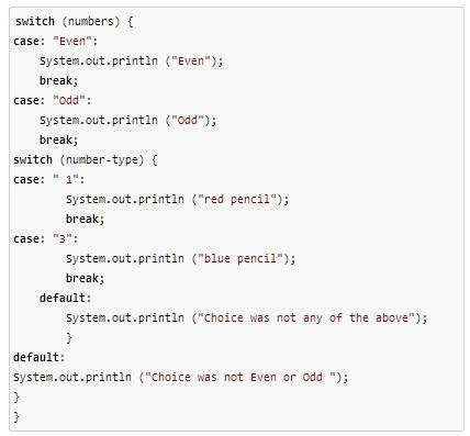 quiz worksheet nested switch statements  java
