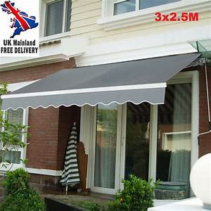 Full Cassette Manual Awning Retractable Canopy Patio Shade