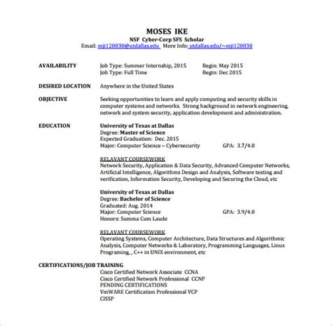 network engineer resume template 9 free word excel