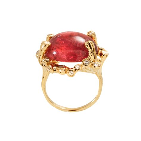 chelsea ring yellow gold and rubellite tourmaline cocktail