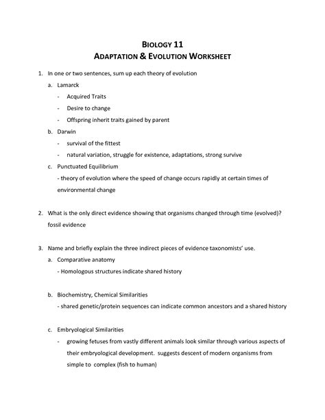 28 16 4 evidence of evolution worksheet answers 16