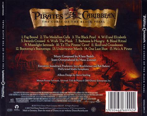 Carátula Trasera de Bso Piratas Del Caribe (Pirates Of The