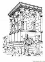 Coloring Pages Temple Greek Erechtheion Ancient History Greece Colouring Adult Temples Printable Sightseeing Athens Kleurplaten Template αρχαία Para Coloringpages101 States sketch template