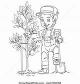 Boy Planting Farmer Tree Cartoon Coloring Young Drawing sketch template