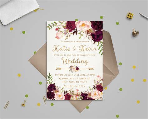 Floral wedding invitation template Wedding invitation Etsy
