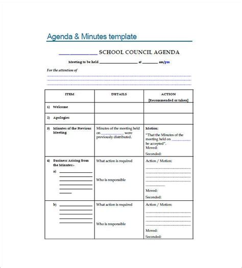 minutes  meeting templates   word