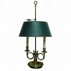 Two arm bouillotte style table lamp with green metal shade for Table lamp with 2 arms