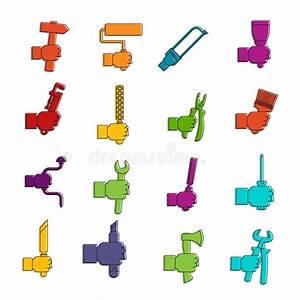 94 Outil De Bricolage : ensemble de griffonnage d 39 ic nes d 39 outil de bricolage ~ Dailycaller-alerts.com Idées de Décoration