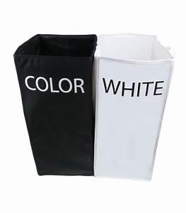 Panier à Linge Double : panier linge double compartiment white color ~ Teatrodelosmanantiales.com Idées de Décoration