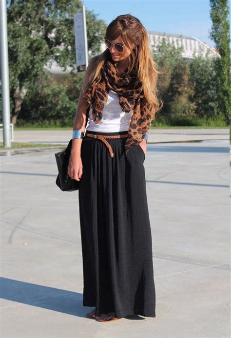Side Split High-waisted Black Maxi Skirt | Spring/Summer Outfit Ideas | Pinterest | Brown belt ...