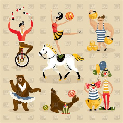 Images Of Characters Set Of Circus Characters And Animals Vector Image Vector