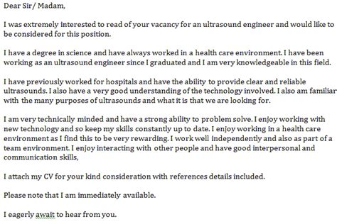 ultrasound engineer cover letter exle learnist org