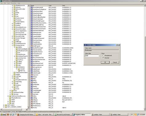regedit change remote desktop port number