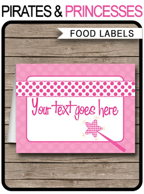 pirate  princess food labels birthday party decorations
