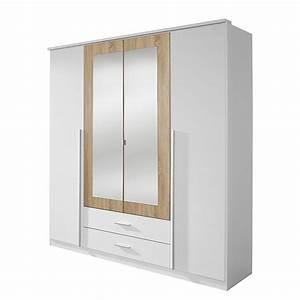 Armoire Bois Blanc : armoire 4 portes battantes blanc et bois naturel field ~ Teatrodelosmanantiales.com Idées de Décoration