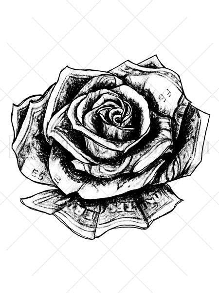 This unique rose tattoo appears to be made out of US currency. Traditionally a rose tattoo