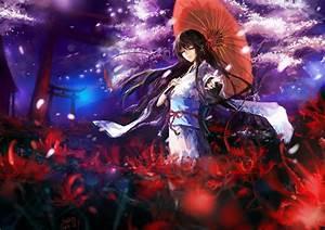 Anime, Anime, Girls, Original, Characters, Kimono, Traditional, Clothing, Flowers, Cherry, Blossom