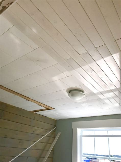 Plank Ceiling Tiles by How To Affordably Cover Acoustic Tile Ceiling Front
