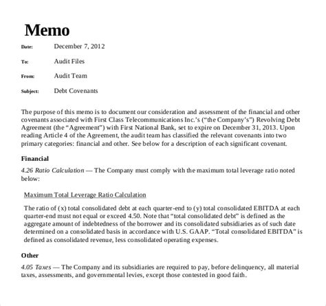 Template For Writing A Memo by Audit Memo Template 11 Free Word Excel Pdf Documents