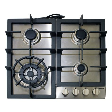 stainless steel gas cooktop magic chef 24 in gas cooktop in stainless steel with 4