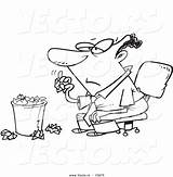 Coloring Outline Bored Crumpled Tossing Cartoon Trash Businessman Toonaday sketch template