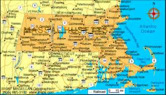Massachusetts State Map Cities Towns