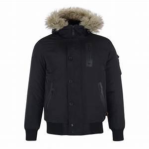 Manteau Homme Avec Fourrure : bellfield manteau noir avec capuche fausse fourrure ~ Melissatoandfro.com Idées de Décoration