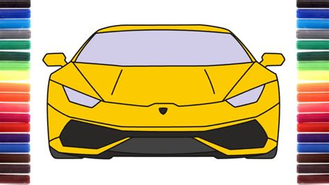 How To Draw A Car Lamborghini Huracan Front View Step By