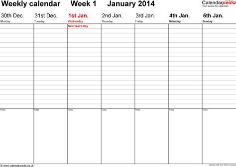 Weekly Calendar Template 2014 Costumepartyrun