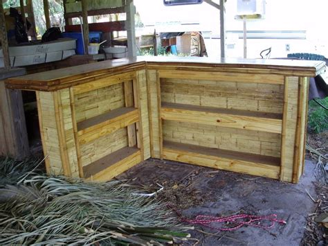 Bamboo Tiki Bar Plans by How To Build An Outdoor Bar Shaped Small Flattened