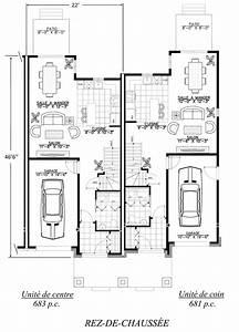 plan maison jumelee gratuit 11 par le garage systembaseco With plan maison mitoyenne par le garage