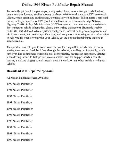 online auto repair manual 2002 nissan pathfinder head up display 1996 nissan pathfinder repair manual online