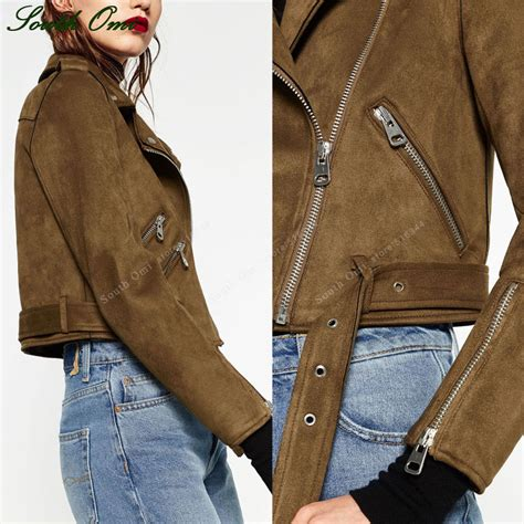 brown leather suede jackets faux leather jacket for women