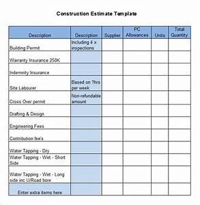 building work schedule template - 5 construction estimate templates pdf doc excel