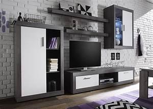 Meuble Salon Bois : ensemble de meubles tv lumineux pour salon moderne ~ Teatrodelosmanantiales.com Idées de Décoration