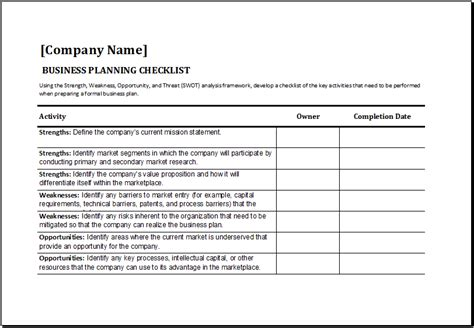 ms excel business planning checklist template excel
