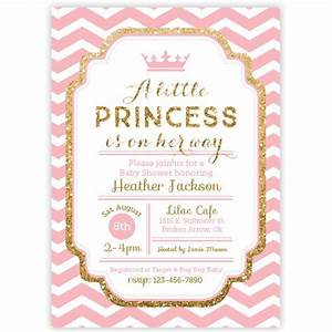 Chevron Princess Baby Shower Invitation - Pink and Gold