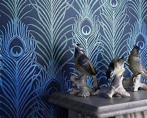 elegante tapete mit pfauenfedern peacock matthew williamson With markise balkon mit matthew williamson tapete