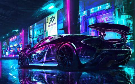 cyberpunk  wallpaper mclaren supercars neon art cars