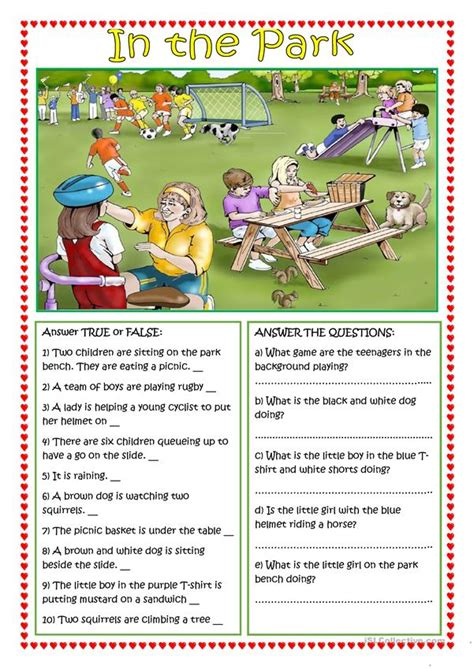 The students should first grasp the sense of the passage, fully understand the nature of the questions and then answer the questions in their own words. In the Park worksheet - Free ESL printable worksheets made ...