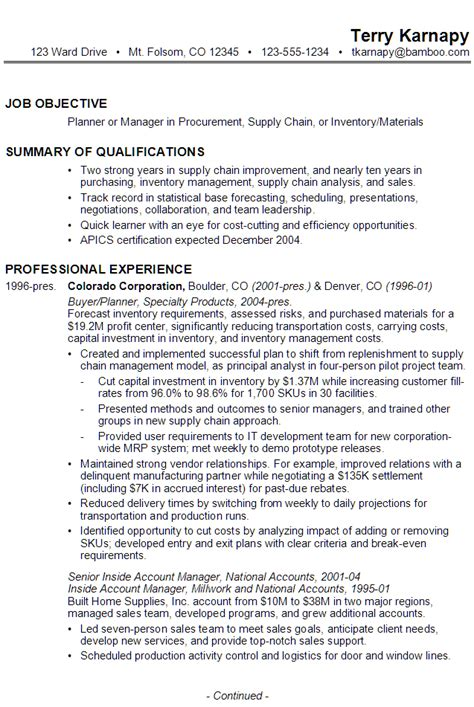 procurement manager resume summary resume for supply chain management susan ireland resumes
