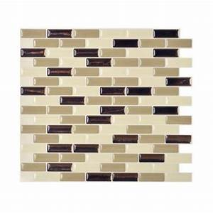 Smart tiles 910 in x 1020 in mosaic peel and stick for Self stick backsplash tiles home depot