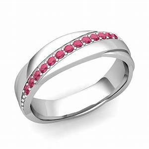Unique Ruby Wedding Anniversary Ring In Platinum Shiny