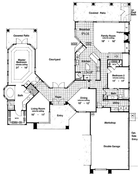 home plans with courtyards two courtyard house plan 6382hd architectural