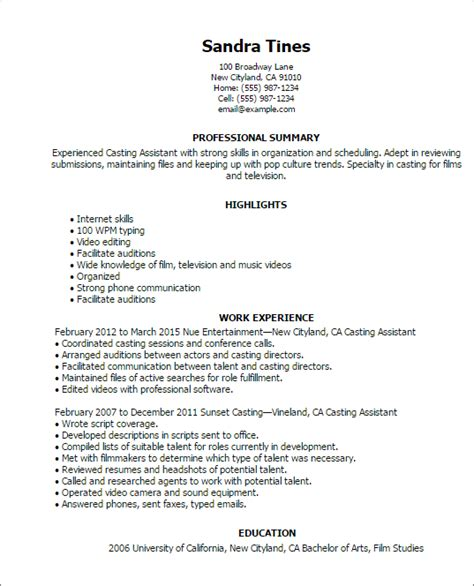 Entertainment Resume Template by Free Professional Resume Templates Livecareer