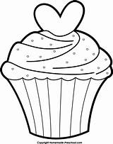 Cupcake Outline Clipart sketch template