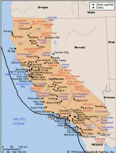 Carte Cote Ouest by Map Of West Coast California Holidaymapq