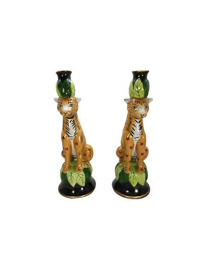 Candle Leopard Holders Beach Palm Chairish Chic