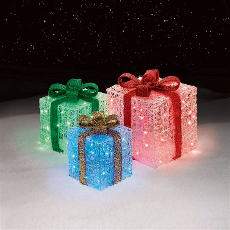 3 light up gift box decorations cheerful holiday